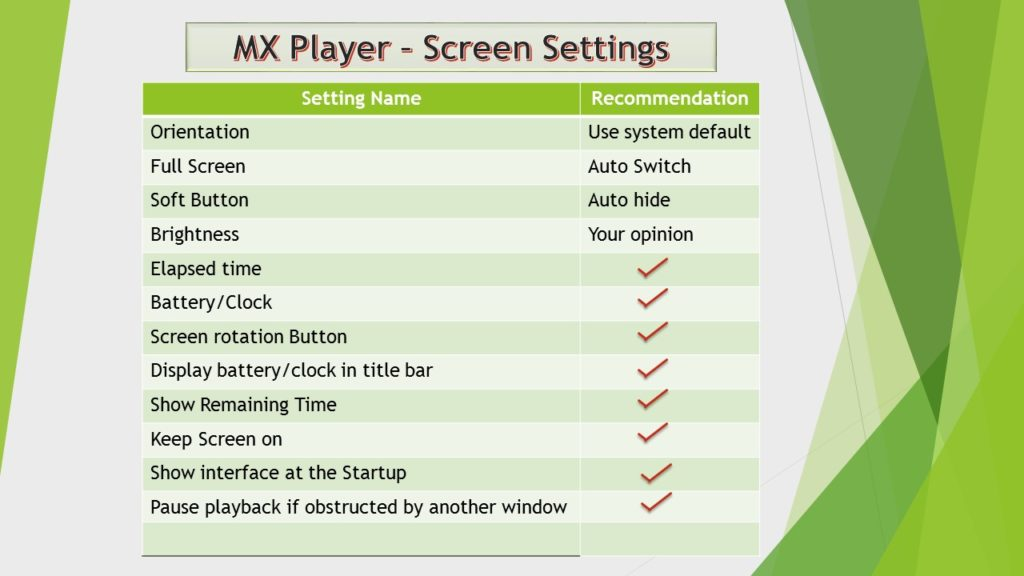 MX player screen settings